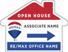 Lowen TradeSource 18h x 24w REMAX 4MM CP HOUSE SHAPE OPEN HOUSE DIRECTIONAL PANEL - VERTICAL FLUTES