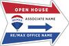 Lowen TradeSource 18h x 24w REMAX 4MM CP ARROW SHAPE OPEN HOUSE DIRECTIONAL PANEL - VERTICAL FLUTES